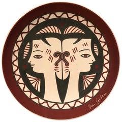 """Jean Cocteau Large Original Edition Ceramic Dish """"Etrurie"""", 1958"""