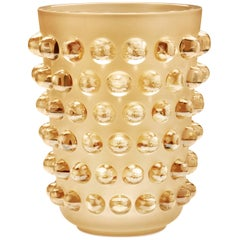 Lalique Mossi Grand Vase Gold Luster Crystal