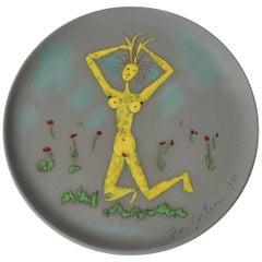 "Jean Cocteau Original Edition Ceramic Dish ""Femme se Coiffant"", 1958"