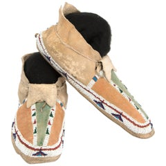 Antique Native American Beaded Moccasins, Cheyenne (Plains Indian), circa 1890