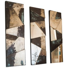 Group of 3 contemporary Sculpture Mirrors, Silvered Art Glass, now available