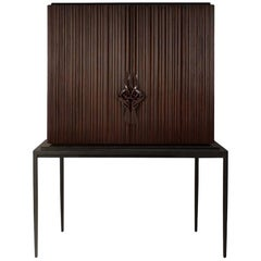 Thomas Bar in Solid Mahogany Wood and Coral Lacquered Inside