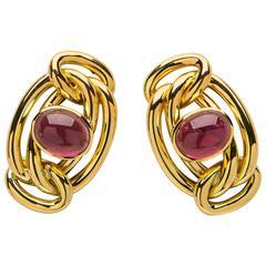 European Tourmaline Gold Earrings