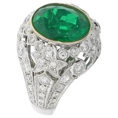 Brazilian Emerald Diamonds Gold Cluster Ring