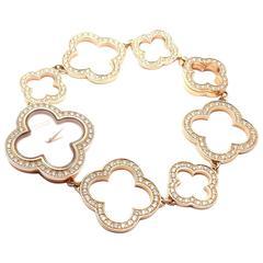 Van Cleef & Arpels Rose Gold Diamond Mother-of-Pearl Vintage Alhambra Wristwatch