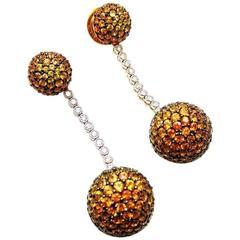 18K White gold Yellow, Orange Sapphire Diamond Gold Two Balls Earrings
