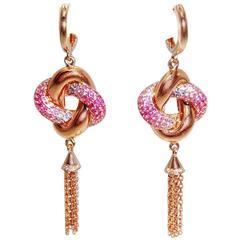18K White gold Pink Blue Sapphire Ruby Twist Knot Dangle Earrings