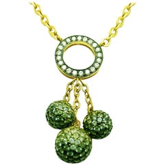 18K White gold Three Balls Necklace with Green, Yellow Sapphire and Diamond