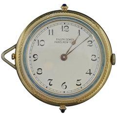 1920s Ralph Dewey Blue Enamel Gold Pocket Watch