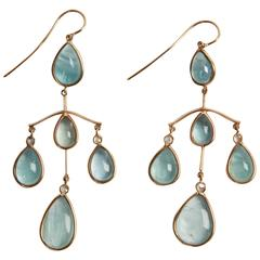Marion Jeantet Aquamarine Diamond Gold Chandelier Earrings
