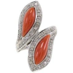White Diamonds Coral Fashion Gold Ring