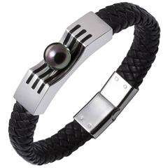 Lust Men's Steel Leather Bracelet with Round Peacock Tahitian South Sea Pearl