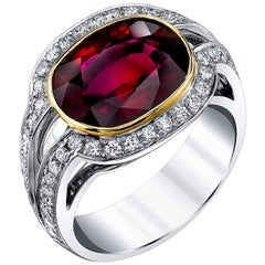 5.17 Carat Ruby and Diamond Ring 18k Yellow and White Gold