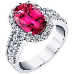 3.63 Carat Red Spinel and Diamond Ring 18k White Gold