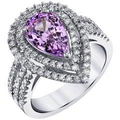 2.29 Carat Lavender Spinel and Diamond Ring 18k White Gold
