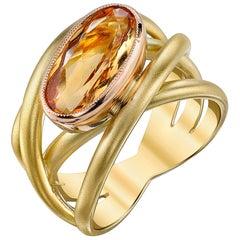 3.06 Carat Precious Topaz Bezel Set Ring in 18k Yellow Gold