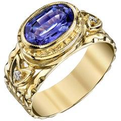 1.64 Carat Tanzanite and Diamond Ring 18k Yellow Gold