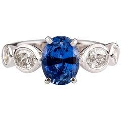 Kian Design White Gold 2.08 Carat Oval Cut Ceylon Sapphire Diamond Ring