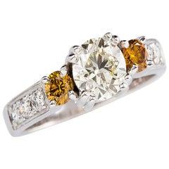 Kian Design White Gold Total 1.42 Carat Certified Yellow and White Diamond Ring
