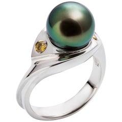 Kian Design 18 Carat Three Stones Tahitian Pearl and Fancy Round Diamond Ring