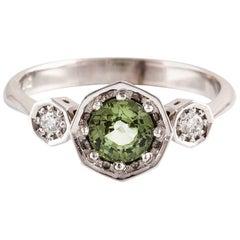 Kian Design 18 Carat Three Stones Round Green Sapphire and Diamond Art Deco Ring