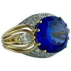 Gubelin 8.03 Carat Tanzanite Diamond Gold Ring
