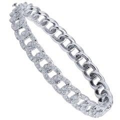 2.79 carat Pave Diamond Chain Link Hinge Lock Bangle Bracelet in 18 karat