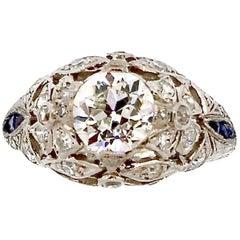 Antique Art Deco Platinum Sapphire Diamond Ring