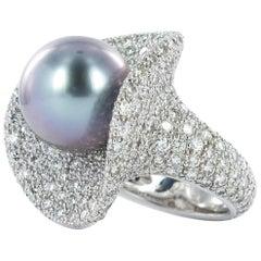 Fabulous Tahitian Cultured Pearl Diamond Ring