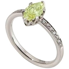 """Ring, White Gold, Fancy Intense Yellow Green Diamond """"Wagner Collection"""""""