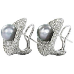 Fabulous Tahitian Cultured Pearl Diamond Earclips
