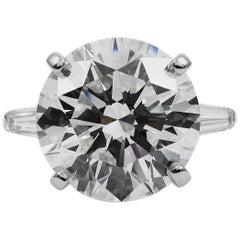 GIA Certified J. Birnbach 7.33 Carat H VVS2 Round Brilliant Cut Diamond Ring