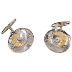 Cufflinks, White Gold, Yellow Gold, Rock Crystal with Tourmaline Needles