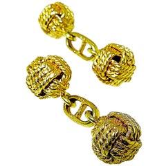 18 Karat Gold Love Knot Cufflinks