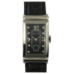 Bulova White Gold Black Diamond Dial Wristwatch