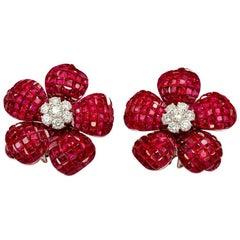18K White gold Ruby Invisible Flower Earrings