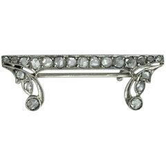 1920s Art Deco Rose Cut Diamond Platinum Brooch