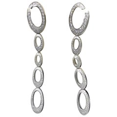 Chopard 18 Karat White Gold Long Hanging Diamond Earrings
