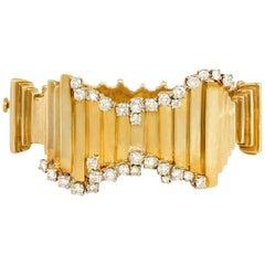 1960s Brutalist Style Gold and Diamond Bracelet