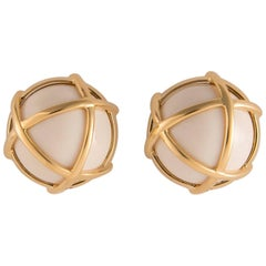 Verdura Caged Cocholong and Gold Earrings