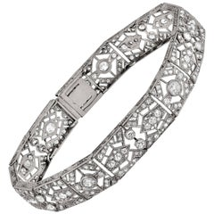 Platinum Art Deco Bracelet Featuring 5.5 Carat of Rose and Old Mine Cut Diamonds