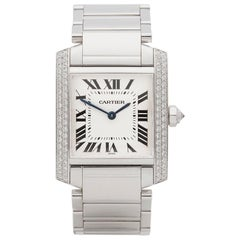 2000s Cartier Tank Francaise Diamond White Gold 2404MG Wristwatch