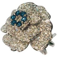 5.07 Carat White and Blue Diamond Camellia Flower 18 Karat White Gold Ring