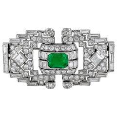 Mauboussin Diamond Emerald Brooch