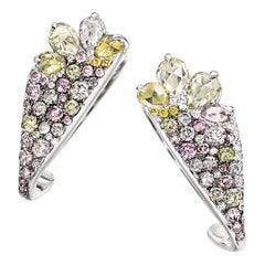 18 Karat White Gold 2.71 Carat Fancy Diamond Pave Ear Cuffs