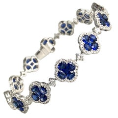 11.1 Carat Vivid Blue Sapphire and Diamond Bracelet in 18 Karat White Gold