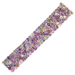 GIA Certified 112.42 Carat Natural Color Sapphire and 2.26 Carat Diam. Bracelet