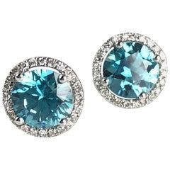 2.99 Carat Blue Zircon Halo Stud Earrings in 14 Karat White Gold