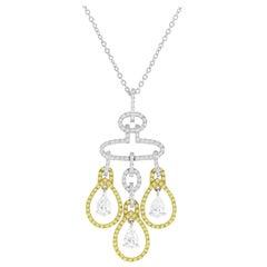 2.69 Carat Yellow and White Diamond Chandelier Pendant by DiamondTown
