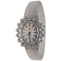 Ebel 18 Karat White Gold Diamond Vintage Ladies Watch